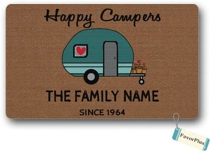 Funny Doormat Happy Family Traveler Campers Outdoor Indoor Non Slip Decor Floor Door Mat Area Rug for Entrance 18×30 inch