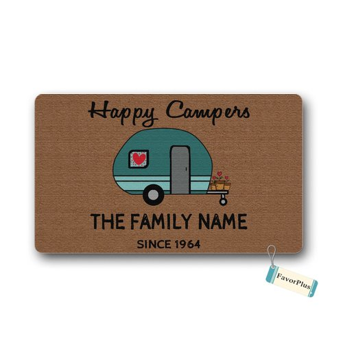 (Funny Doormat Happy Campers Outdoor/Indoor Non Slip Decor Floor Door Mat Area Rug for Entrance 18x30 inch)