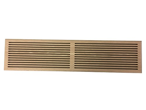 6 Inch x 30 Inch Red Oak Hardwood Vent Floor Register Surface Mount, Slotted Style, Unfinished (Floor Register Style)