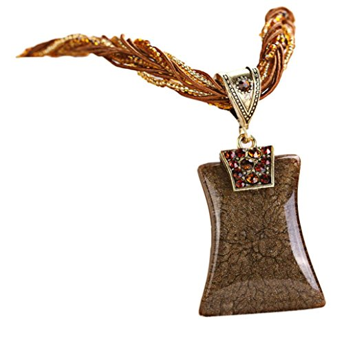 - Bohemian Necklace,Han Shi Luxury Womens Rhinestone Geometric Gem Pendant Xmas Charm Jewelry (Coffee, L)
