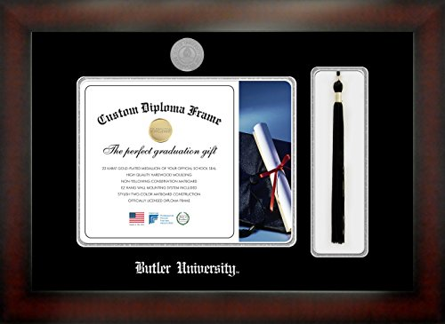 Butler UniversityTM 8½ x 11 Mahogany Finish Infinity Diploma Frame with Tassel Box by Celebration Frames