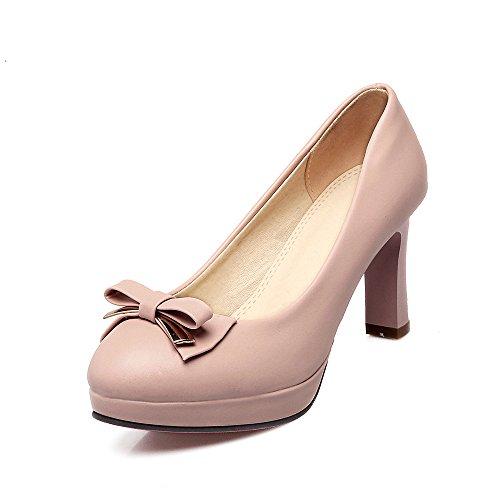Schuhe Flachen Mund Blockabsatz Frauen Heels LSM amp;S Runder MEI qSfan7Ux