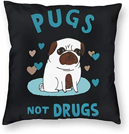 RuynBrus Pugs Not Drugs Throw Pillow Covers Decorative Couch Pillow Cases Square Cushion Cover for Sofa Bed and Car Decoration