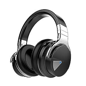 COWIN E7 Auriculares Inalámbricos Bluetooth con Micrófono Hi-Fi Deep Bass Auriculares Inalámbricos Sobre El Oído, Almohadillas de Protección Cómodo, 30 Horas de Tiempo de Juego para Viajes - Negro (Negro)