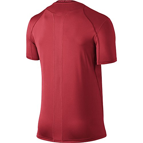 NIKE Men's Pro Fitted Short Sleeve Shirt, University Red/Team Red/White, Small
