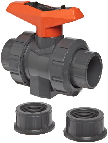 GF Piping Systems PVC True Union Ball Valve with Full Port, Two Piece, PTFE Seat, EPDM Seal, 1