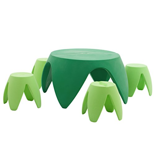 - ECR4Kids Blossom Table and Stool Indoor/Outdoor Furniture Set, Green (5-Piece)