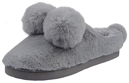 UIESUN Women Cute Ball House Slippers Winter Soft Plush Bedroom Indoor Slipper Shoes