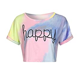 Women Tie-dye Chic Tops CropLILICAT Summer Short Sleeve T-Shirts Gradient Letter Print 'Happy'Slogan T-Shirts Blouse Crop Tank Teenager Girls Casual T-Shirt Ladies Cute Short Tops