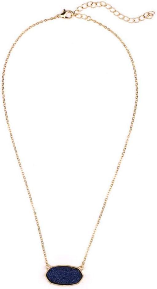XCWXM Collar Mujer Collares Pendientes Hexágono Resina Drusa Collar De Oro Moda Mujer Joyería Fiesta Boda
