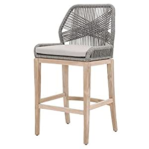 "Maklaine 30"" Rope Weave Outdoor Barstool in Platinum and Gray Teak"