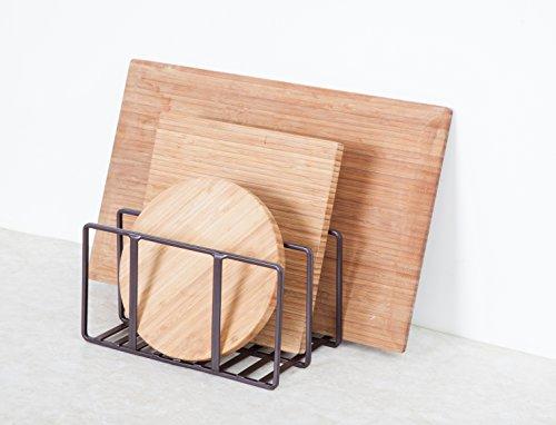 StorageManiac Cutting Board Holder, Pantry & Cabinet Organizer, Bakeware Rack, Bronze, 2-Pack