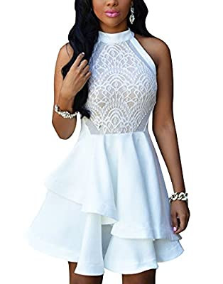 Cfanny Women's Sleeveless Sexy Lace Skater Cocktail Party Swing Dress