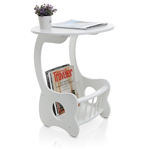MyGift White Wood Pedestal End Table, Round Display Stand with Magazine Rack