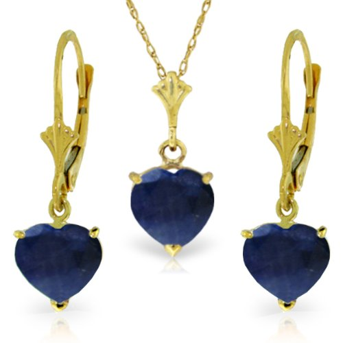 14K Yellow Gold Jewelry Set - Necklace and Earrings w/ Natural Heart-shaped Sapphires