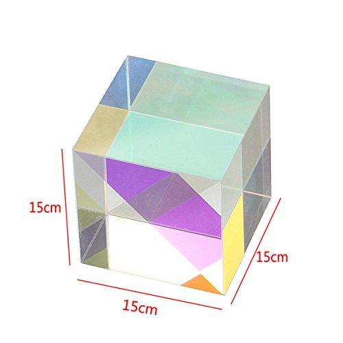 F-ber 1Pcs Optical Glass RGB Dispersion Prism X-Cube for Physics Teach Decoration Art 15x15x15mm/0.59'' x 0.59'' x 0.59