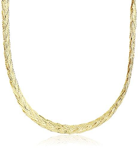 14k Yellow Gold Italian 5-Strand Diamond Cut Braided Herringbone Necklace, 16