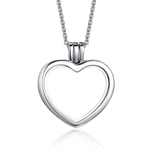 BAMOER White Gold Plated 925 Sterling Silver Valentine's Day Gifts Eternity Floating Necklace Memory Heart Locket Necklace For Women Teen Girls