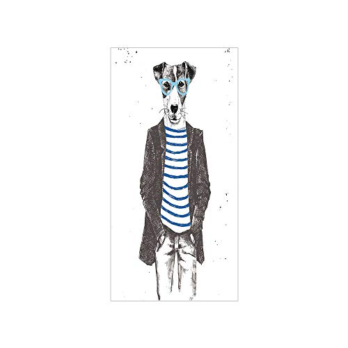 Ylljy00 Decorative Privacy Window Film/Dressed Up Hipster Dog with Glasses Hand Drawn Sketchy Fashion Animal/No-Glue Self Static Cling for Home Bedroom Bathroom Kitchen Office Decor Black White Blue