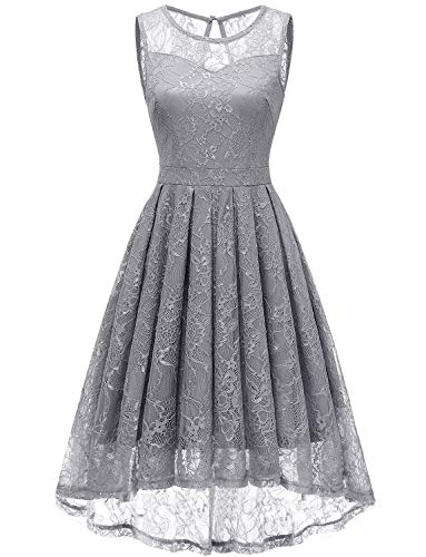 Gardenwed Women's Vintage Lace High Low Bridesmaid Dress Sleeveless Cocktail Party Swing Dress Grey L ()
