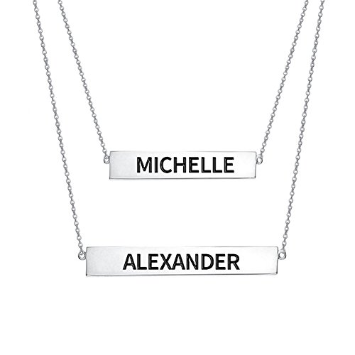 Ouslier 925 Sterling Silver Personalized Layered Nameplate Double Bar Necklace Custom Made with 2 Names (Double Name Necklace)