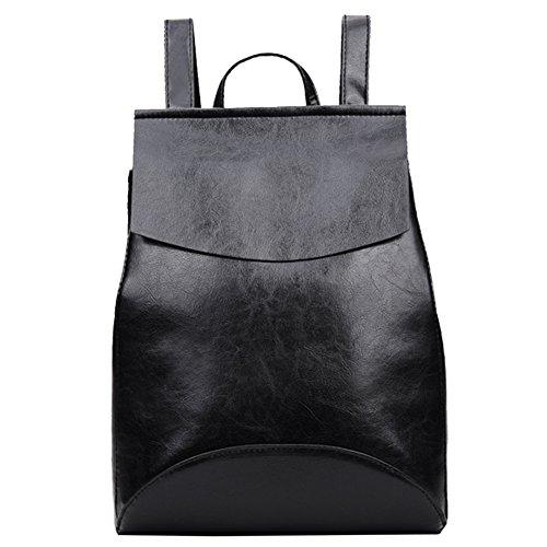 JD Million shop PU Leather Backpack Shoulder Bag Backpack Women School Bags for Teenage Girls Back Pack Women (Black)