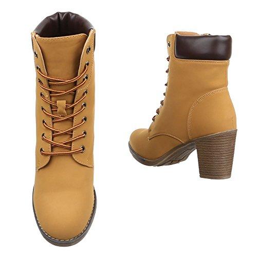 Ital-Design Botas Militar Mujer, Color Marrón, Talla 40