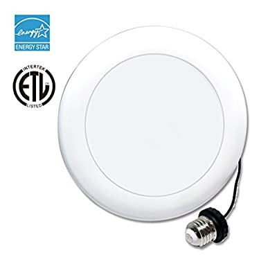 """WestDeer Dimmable LED Surface Recessed Mount Down light Kit, 100W Equivalent, E26 Retrofit Fixture, 7.5 Inch 5000K (Cool White) 1100 Lumen for 5"""", 6"""" Recessed Can and 4"""", 6"""" J-box"""