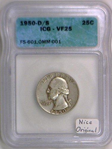 1950 D Washington D/S Mintmark; ICG Certified; FS-601, OMM-001 Quarter VF-25