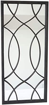 Paris Loft Rectangle Window Pane Metal Wall Mirror 30 H, Black
