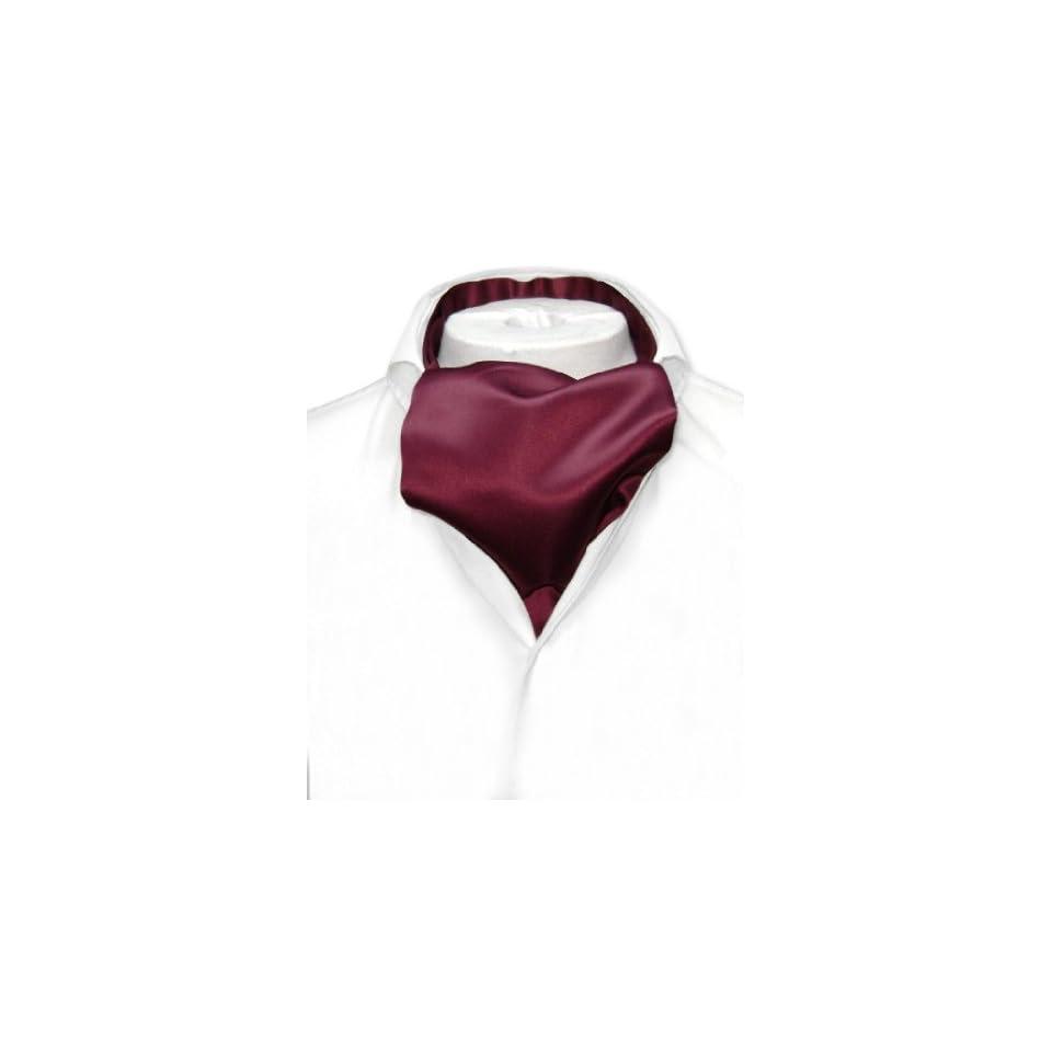 Vesuvio Napoli ASCOT Solid BURGUNDY Color Cravat Mens Neck Tie