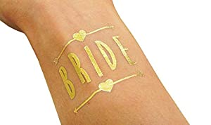 (12 pack) Bachelorette and Bride Tribe Temporary Tattoos by Bachelorette Babes -Metallic Shiny Gold Tattoos - Bachelorette Party Supplies and Accessories Favors from Bachelorette Babes