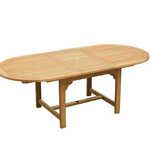 STS SUPPLIES LTD Patio Dining Table Extended Oval Outdoor Patio Dining Room Large Wooden Rectangle Rectangular Extendable Outside Yard Backyard Garden Furniture & E Book by Easy2Find. ()