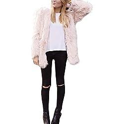 Perman Womens Winter Warm Faux Fur Short Coat Jacket Parka Outerwear Tops (M, Pink)