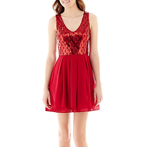 My Michelle Sleeveless Sequin and Chiffon Dress (7, Red)