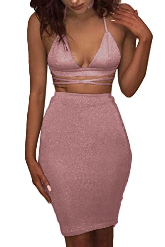 Body Chain Mini Dress - ioiom Pink Outfits for Women Birthday Halter V Neck Backless Crop Top and Skirt Dress Bodycon Set Ballet Slipper L