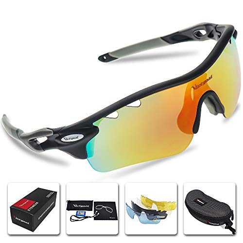 VICTGOAL Sports Sunglasses Polarized for Men and Women 5 Interchangeable Lenses Tr90 Frame UV400 Protection Fishing Driving Running Golf Cycling Glasses (Black)