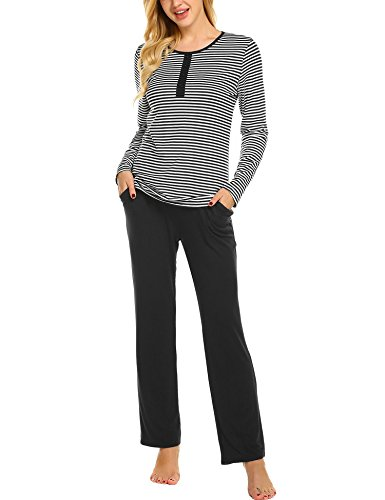 Ekouaer Womens Pajama Set Striped Long Sleeve Sleepwear Soft PJs Set Pants