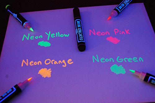Blacklight Reactive Electric Neon Permanent Fabric Markers 5 Pack by DirectGlow LLC