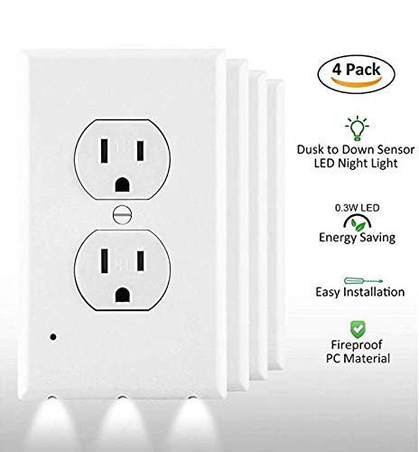 Outlet Wall Plate With Led Night Lights - 4 Pack Duplex - Electrical cover Plates Nightlight