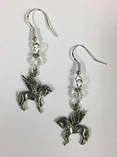 Pegasus Flying Horse Fantasy Earrings with Clear Faceted Accent Beads on Sterling Silver -