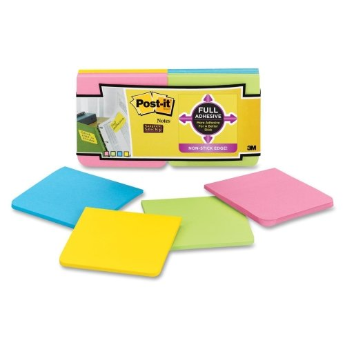 Wholesale CASE of 15 - 3M Post-it Super Sticky Full Adhesive Notes-Notes, Post-It Super Sticky, 3''x3'', 12/PK, Assorted by 3M