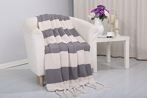 Superior Quality 100% Acrylic Couch Blanket - Ideal 50 x 60 Inch Size For King/Queen Bed - Variety Of Different Colors - Solid Or Striped Pattern (Vintage Gray)