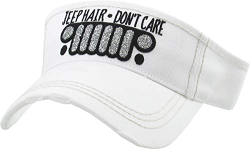 H-201-JHDC09 Ponytail Visor Patch Hat - Jeep Hair Don't Care, White