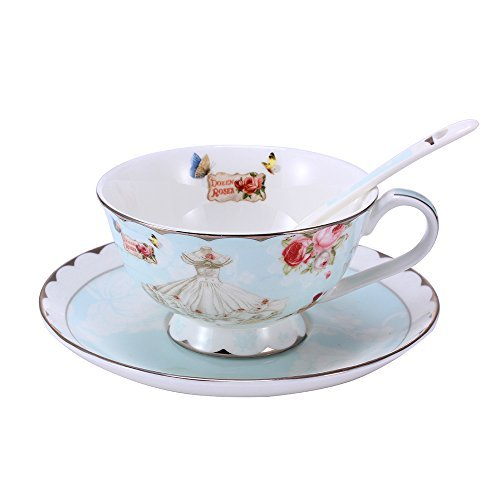 LeFeng Life Centre LeFeng Fine Bone China Coffee Mug Spoon and Saucer Set, Easy Clean and Great Design with Romantic Rose Dress, 8-Ounce (White-Blue) price tips cheap