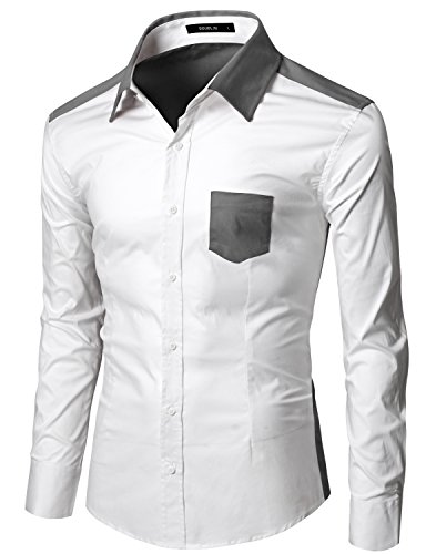 Doublju Men Trendy Long Sleeve Color Detail Slim Dress Shirts Whitecharcoal XXX-Large