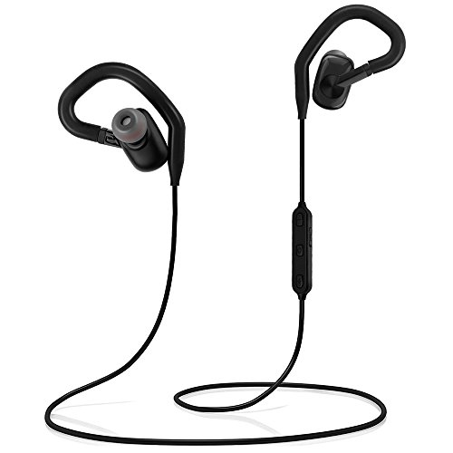 Airsspu Bluetooth Headphones,Lightweight V4.1 Wireless Sport Stereo In-Ear Noise Cancelling Waterproof Sports Earphones with Mic for Gym,Running and Travel(Black)