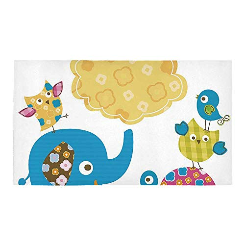 C COABALLA Nursery Rectangular Bath Rug,Diverse Cartoon Happy Animals Tortoise Elephant Lovely Yellow Cloud Drawing Style Decorative for Bathroom,28
