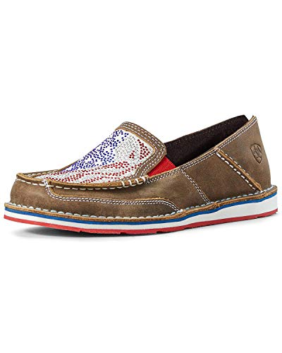 ARIAT Women's Sequin Stars and Stripes Cruiser Shoes Moc Toe Brown/Blue 7.5 M