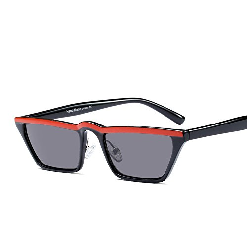 black top gafas Pequeño de gafas cuadrado Sunglasses TL mujer UV400 red mujeres de sol flat hombres sol negro para Twpx8nqF4